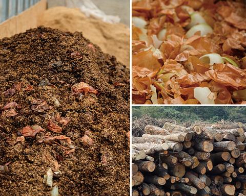 1)野菜くずなどの有機物と、微生物が住まう木材片、土壌菌を合わせます。