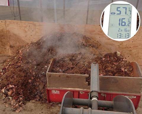 2)土壌菌が活動できるよう空気を送ります。活発な分解(発酵)によって熱が発生。約60℃まであがり、病原菌の殺菌にもなります。
